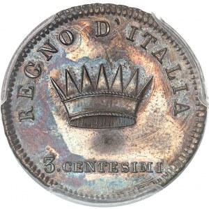 Milan, royaume d'Italie, Napoléon Ier (1805-1814). Essai de 3 centesimi à la tranche feuillue 1806, M, Milan.