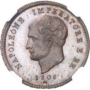 Milan, royaume d'Italie, Napoléon Ier (1805-1814). Essai de 2 centesimi à la tranche rubannée, Flan bruni (PROOF) 1806, M, Milan.