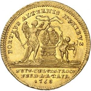 Naples et Sicile, Ferdinand IV (1759-1816). Médaillette ou jeton d'or, mariage par procuration de Ferdinand IV et de Marie-Caroline 1768, Vienne.