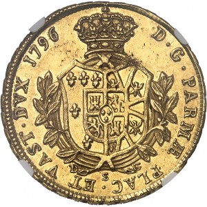 Parme, Ferdinand de Bourbon (1765-1802). 4 doppie 1796, Parme.