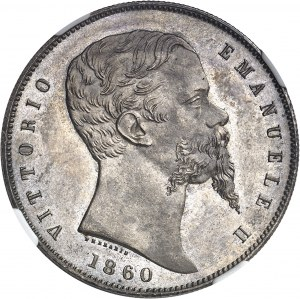 Savoie-Sardaigne, Victor-Emmanuel II (1849-1861). 5 lire 1860, Bologne.