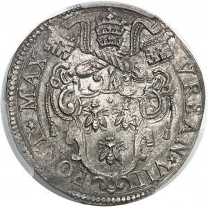 Vatican, Urbain VIII (1623-1644). Teston commémorant l'annexion du duché d'Urbino ND (c.1632), Rome.