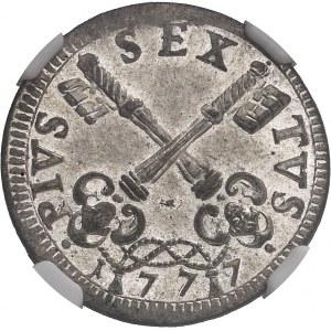 Vatican, Pie VI (1775-1799). 4 baiocchi 1777, Rome.