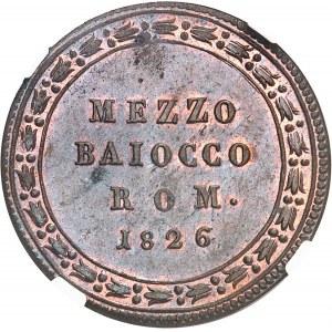 Vatican, Léon XII (1823-1829). Demi-baiocco 1826 - An III, Rome.