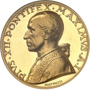 Vatican, Pie XII (1939-1958). Médaille papale annuelle en Or, aux armes du Pape 1939 - An I, Rome.