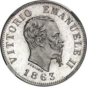 Victor-Emmanuel II (1861-1878). 50 centesimi, Flan bruni (PROOF) 1863, N, Naples.