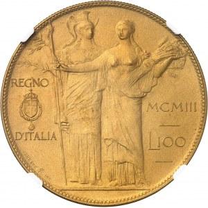 Victor-Emmanuel III (1900-1946). Essai de 100 lire avec Minerve et l'Agriculture en bronze doré par S. Johnson, Flan bruni (PROOF) 1903, Milan (Johnson).