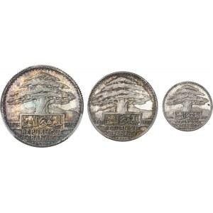 Liban (République du). Coffret de 3 essais de 10, 25 et 50 piastres 1929, Paris.