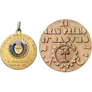 Victor-Emmanuel III (1900-1946). Lot de 2 médailles de l'Automobile club de Tripoli 1934-1937, Milan (Johnson).