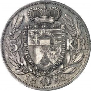 Jean II, prince (1858-1929). Essai de 5 kronen 1898, Vienne.