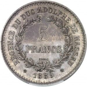 Adolphe de Nassau, régent (1889-1890). Essai de 5 francs 1889, Bruxelles.