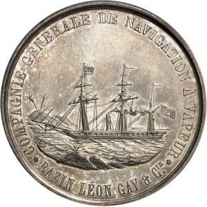 Second Empire / Napoléon III (1852-1870). Jeton de la Compagnie générale de navigation à vapeur Bazin, Léon Gay et Compagnie par Aumoitte 1854, Paris (Stern).