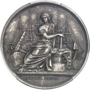 Second Empire / Napoléon III (1852-1870). Épreuve uniface d'avers du jeton du Comptoir de la Méditerranée, Gay Bazin et Compagnie, en argent avec 2 ergots 1856 (1860-1879), Paris (Stern).