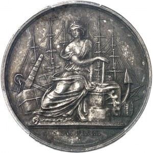 Second Empire / Napoléon III (1852-1870). Épreuve uniface d'avers du jeton du Comptoir de la Méditerranée, Gay Bazin et Compagnie, en argent avec 3 ergots 1856 (1860-1879), Paris (Stern).