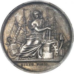 Second Empire / Napoléon III (1852-1870). Épreuve uniface d'avers du jeton du Comptoir de la Méditerranée, Gay Bazin et Compagnie, en argent avec 4 ergots 1856 (1860-1879), Paris (Stern).