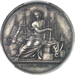 Second Empire / Napoléon III (1852-1870). Épreuve uniface d'avers du jeton du Comptoir de la Méditerranée, Gay Bazin et Compagnie, en argent avec 5 ergots 1856 (1860-1879), Paris (Stern).