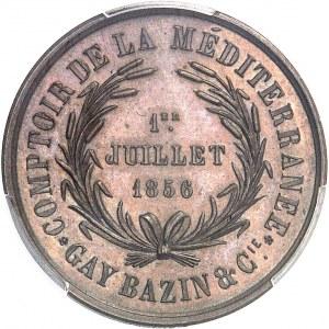 Second Empire / Napoléon III (1852-1870). Épreuve uniface de revers du jeton du Comptoir de la Méditerranée, Gay Bazin et Compagnie 1856 (1860-1879), Paris (Stern).