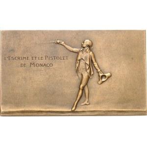 Albert Ier (1889-1922). Plaque, Le salut des armes, l'escrime et le pistolet de Monaco, par E. Robert-Mérignac ND (c.1910), Paris.