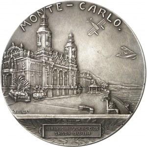 Albert Ier (1889-1922). Médaille, Premier rallye aérien d'hydravions de Monaco par Tony Szirmaï 1914, Paris.