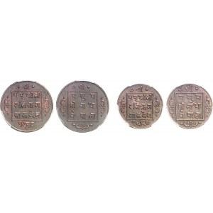 Népal (royaume du) (1750-2006). Série de 1 dam, 1/2 paisa, 1 paisa et 2 paisa VS 1964 (1907) et VS 1968 (1911).