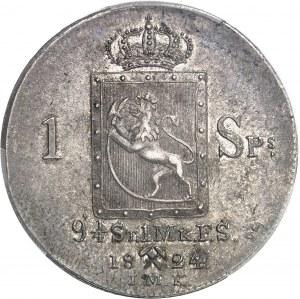 Charles XIV Jean (1818-1844). 1 specie daler 1824 JMK, kongsberg.