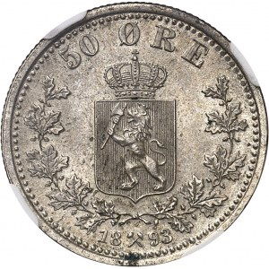 Oscar II (1872-1907). 50 Ore 1893, kongsberg.