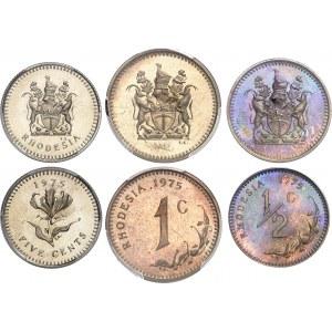 Rhodésie (dominion indépendant de), (1965-1979). Série de 1/2 cent, 1 cent, 5 cents, 10 cents, 20 cents et 25 cents, Flan brunis (PROOF) 1975.