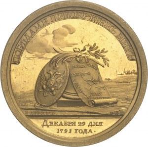 Catherine II (1762-1796). Médaille d'Or, Paix avec la Turquie, par C. Leberecht et F. W. Gass 1791, Saint-Pétersbourg.