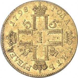 Paul Ier (1796-1801). 5 roubles, variété avec atelier hors du cartouche 1798, CП OM, Saint-Pétersbourg.