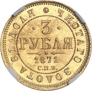 Alexandre II (1855-1881). 3 roubles 1871, Saint-Pétersbourg.