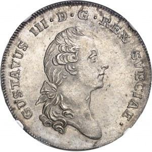 Gustave III (1771-1792). Riksdaler (3 daler Silvermynt) 1776 OL, Stockholm.