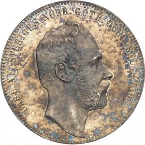 Charles XV (1859-1872). 4 riksdaler, aspect Flan bruni (PROOFLIKE) 1862 ST, Stockholm.