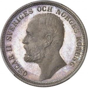 Oscar II (1872-1907). 2 kronor, Flan bruni (PROOF) 1890 EB, Stockholm.