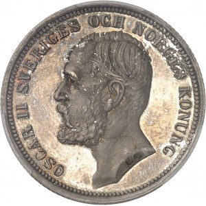 Oscar II (1872-1907). 2 kronor, Flan bruni (PROOF) 1892 EB, Stockholm.