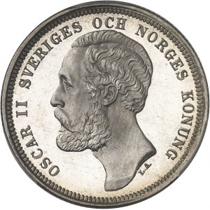Oscar II (1872-1907). 1 krona, Flan bruni (PROOF) 1889 EB, Stockholm.