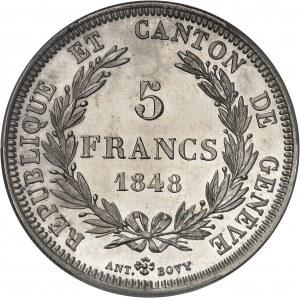 Genève (canton de). 5 francs 1848.