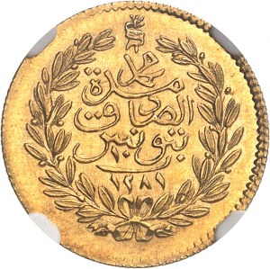 Mohamed el-Sadik Bey (1859-1882). 10 piastres Or AH 1281 (1864), Tunis.