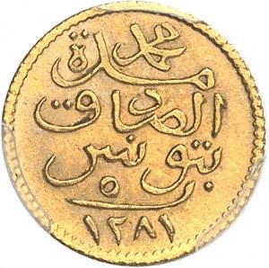 Mohamed el-Sadik Bey (1859-1882). 5 piastres Or AH 1281 (1864), Tunis.