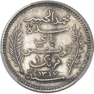 Mohamed el-Habib Bey (1922-1929). 1 franc 1928 - AH 1347, A, Paris.