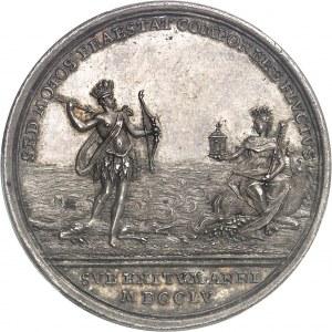 Amérique-Canada (colonies françaises), Louis XV (1715-1774). Médaille, Combat du 8 juin 1755 et préliminaires coloniaux de la Guerre de Sept ans, par Peter Paul Werner 1755, Nuremberg.