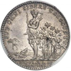 """Amérique-Canada (colonies françaises), Louis XV (1715-1774). Jeton """"SUB OMNI SIDERE CRESCUNT"""", type à l'alligator non signé 1751, Paris."""
