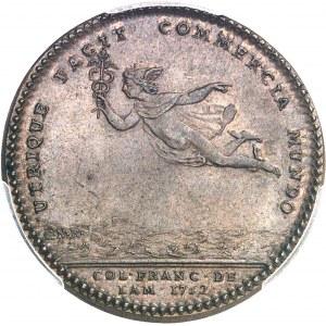 Amérique-Canada (colonies françaises), Louis XV (1715-1774). Jeton de Mathurin Bellabre, Maire de Nantes, aux Amérindiens et Mercure par Duvivier et C.-N. Roëttiers 1752, Paris.