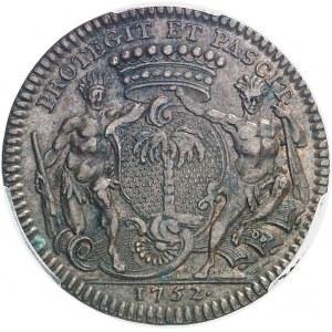 Amérique-Canada (colonies françaises), Louis XV (1715-1774). Jeton de Mathurin Bellabre, Maire de Nantes, aux Amérindiens par Duvivier 1752, Paris.