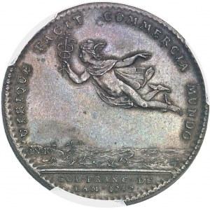 """Amérique-Canada (colonies françaises), Louis XV (1715-1774). Jeton """"UTRIQUE FACIT COMMERCIA MUNDO"""", revers de C. N. Roëttiers 1752, Paris."""