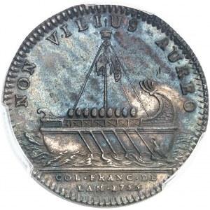 """Amérique-Canada (colonies françaises), Louis XV (1715-1774). Jeton """"NON VILIUS AUREO"""" frappe médaille par F. Marteau 1755, Paris."""