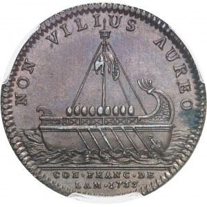 """Amérique-Canada (colonies françaises), Louis XV (1715-1774). Jeton """"NON VILIUS AUREO"""" par F. Marteau 1755, Paris."""
