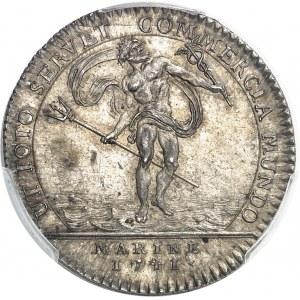 """Amérique-Canada (colonies françaises), Louis XV (1715-1774). Jeton """"NON VILIUS AUREO"""" au Neptune 1741-1755, Paris."""
