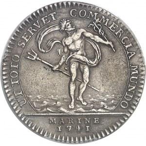 """Amérique-Canada (colonies françaises), Louis XV (1715-1774). Jeton """"NON VILIUS AUREO"""" au Neptune et duc de Penthièvre par J.-C. Roëttiers 1741, Paris."""