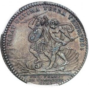 """Amérique-Canada (colonies françaises), Louis XV (1715-1774). Jeton """"PARAT ULTIMA TERRA TRIUMPHOS"""" non signé 1757, Paris."""