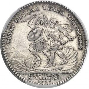 """Amérique-Canada (colonies françaises), Louis XV (1715-1774). Jeton """"PARAT ULTIMA TERRA TRIUMPHOS"""" par R. Filius 1757, Paris."""